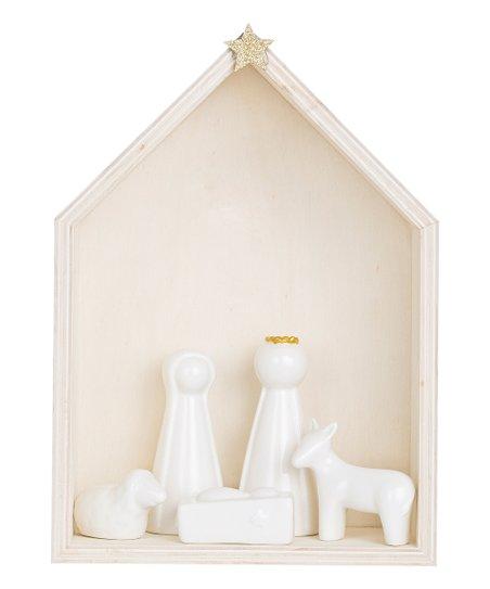 White Six Piece Ceramic &Amp; Wood Nativity Set by Zulily