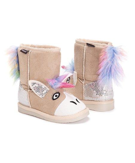 Muk Luks Tan Luna Unicorn Boot - Girls