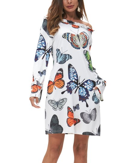 3b03bb81052 love this product White Butterfly Pocket Off-Shoulder Dress - Women & Plus