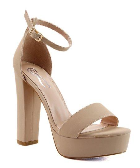 Elegant Footwear Nude Block-Heel Bansy