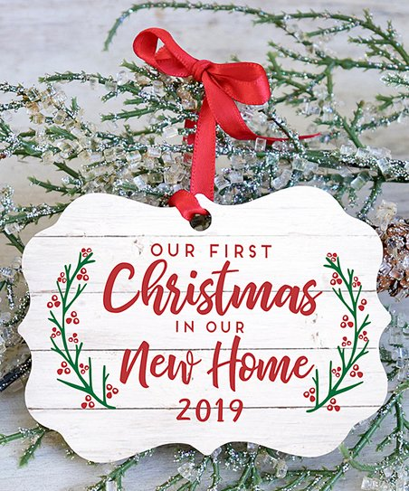 First Christmas In Our New Home 2019.Stamp Out White Our First Christmas In Our New Home Scallop Ornament