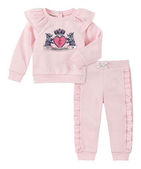 Juicy Couture Light Pink Ruffle-Accent Logo Sweatshirt & Sweatpants - Infant