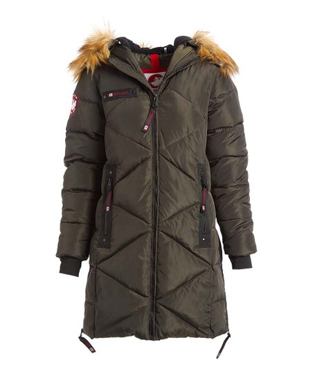 Canada Weather Gear Olive Faux Fur Quilted Puffer Jacket Women & Plus