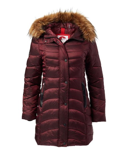 Canada Weather Gear Cranberry Long Faux Fur Hood Satin Puffer Jacket Women & Plus