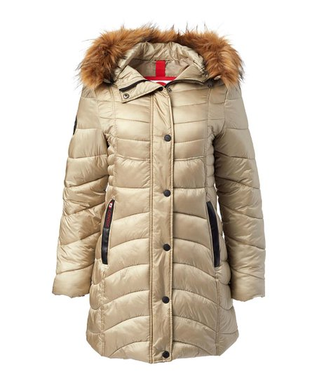 Canada Weather Gear Champagne Long Faux Fur Hood Satin Puffer Jacket Women & Plus