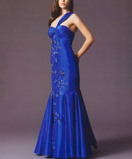 Gianni Castelli Royal Blue Floral Asymmetrical Mermaid Gown - Women