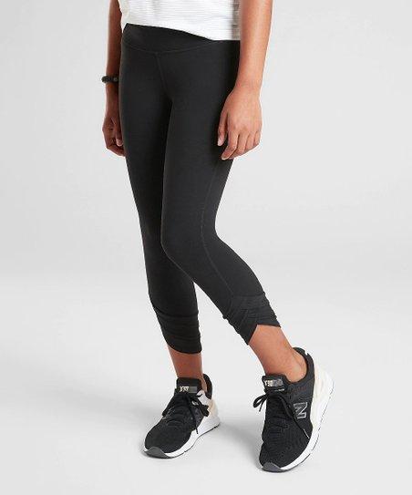 d5ad50d5d6a2d Athleta Black Meshin Around Capri Leggings - Girls | Zulily