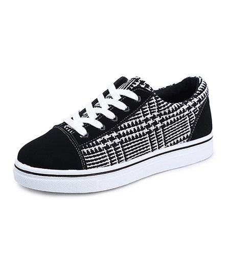 White Plaid Sneaker - Women