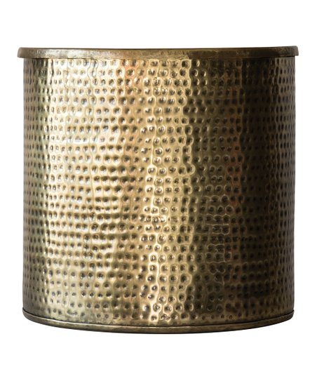 Brass Finish Hammered Metal Drum Storage Table Zulily
