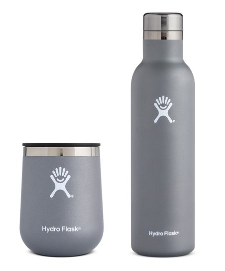 Hydro Flask Stainless Steel & Matted Gray Wine Bottle & Tumbler