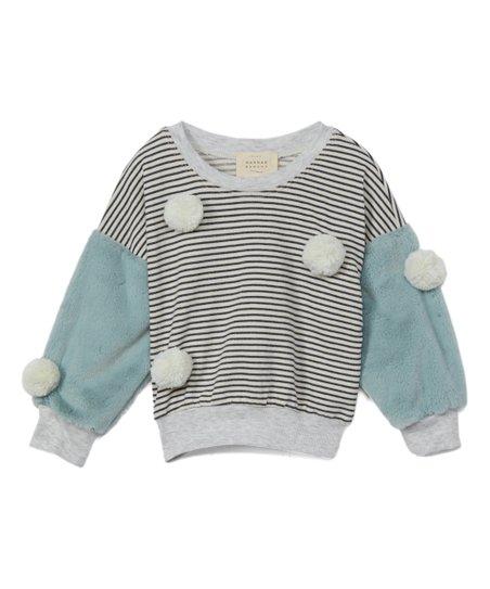 00a1980ffe Baby Sara Sage & Gray Stripe Faux Fur Pom-Pom Sweatshirt - Toddler & Girls