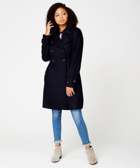 good texture matching in colour outlet sale Tommy Hilfiger Navy Wool-Blend Peacoat - Women