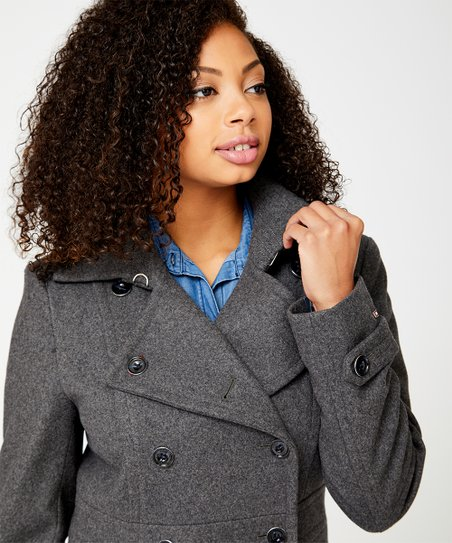 top-rated online here detailed look Tommy Hilfiger Heather Gray Wool-Blend Peacoat - Women