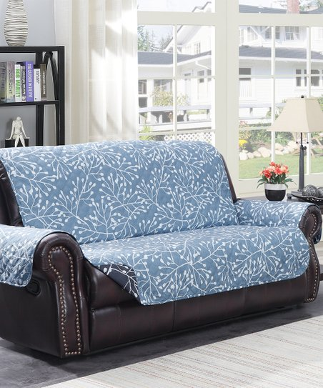 Brilliant Harper Lane Gray Blue Melbourne Branches Sofa Cover Zulily Caraccident5 Cool Chair Designs And Ideas Caraccident5Info