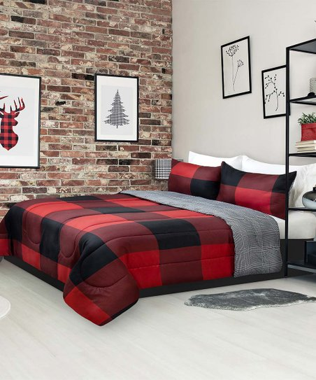 Safdie & Co. Inc. Black & Red Buffalo Check & Houndstooth Reversible  Comforter Set