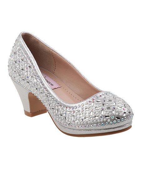 ab8dee51b1d Nanette Lepore Girls Silver Rhinestone Kitten Heel - Girls