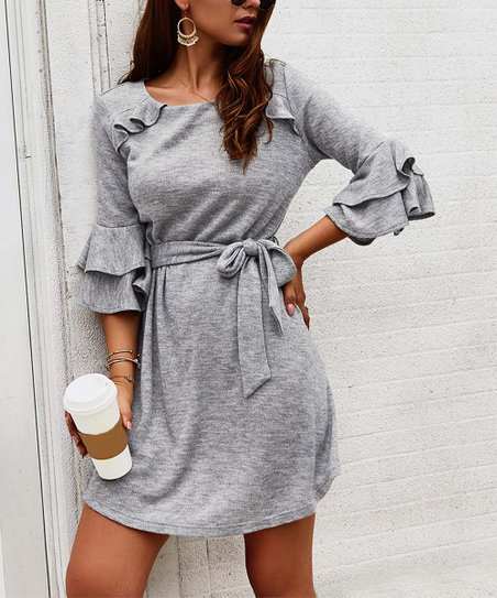 Gray Waist Tie Ruffle Sleeve Shift Dress   Women by Sucrefas