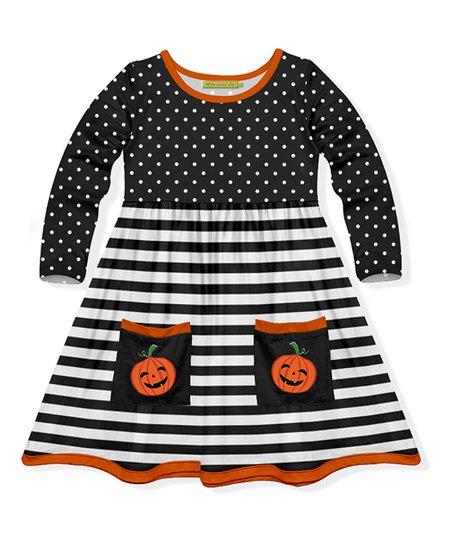 aba6262c57aa2 Millie Loves Lily Black & White Stripe Pumpkin Pocket A-Line Dress -  Toddler & Girls