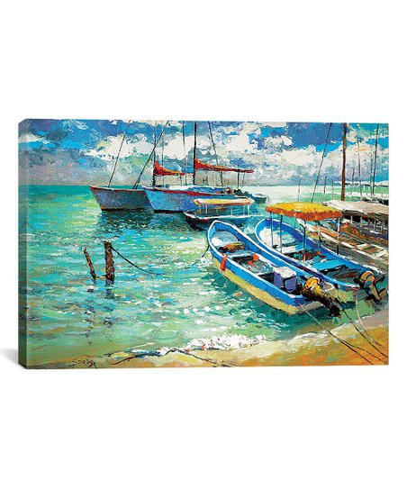 Dmitry Spiros Dmitry Spiros Boats On The Island Of Women  Mexico Wrapped  Canvas