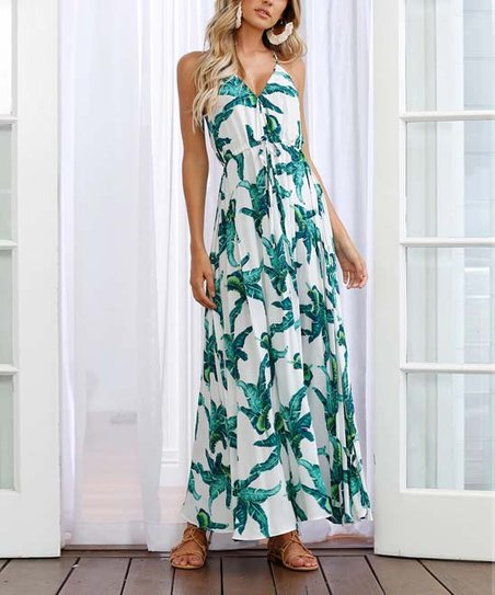 915a7cb20774 love this product Green & White Floral Sleeveless V-Neck Tie-Waist Maxi  Dress - Women