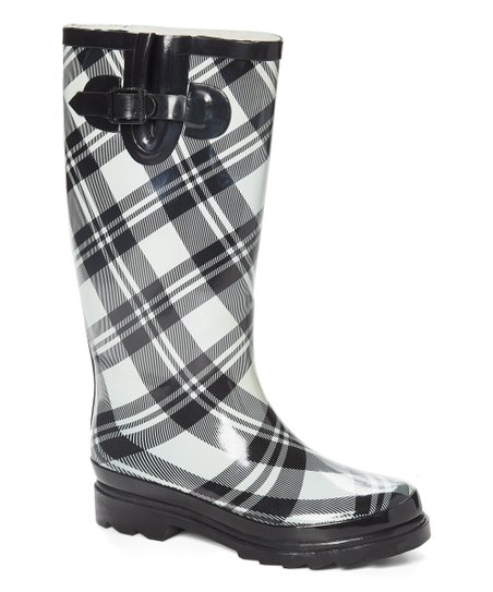 Sunville Black \u0026 White Plaid Rain Boot