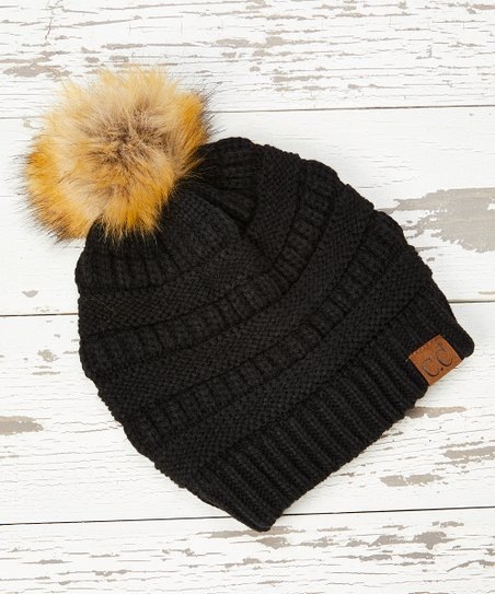 0f3fc5a16 C.C® Black Knit Faux Fur Pom-Pom Beanie - Women