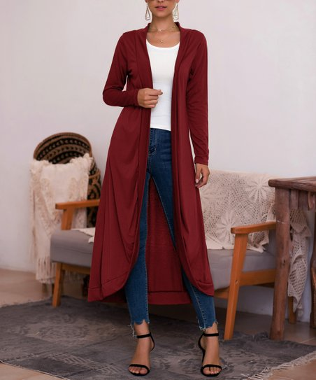 Red Wine Open Duster   Women by Coeur De Vague