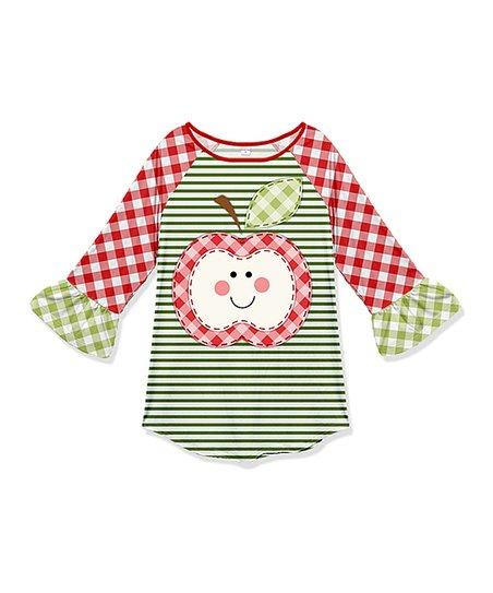 Penelope Plumm Red & Olive Plaid Stripe Apple Ruffle Raglan Tunic - Toddler  & Girls