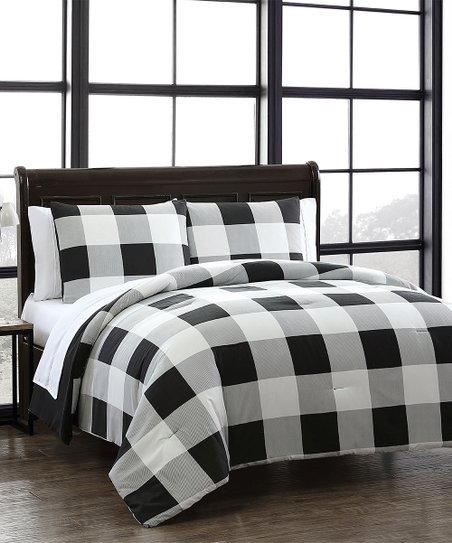 Geneva Home Fashions Black White Buffalo Plaid Reversible Seven Piece Comforter Set Best Price And Reviews Zulily