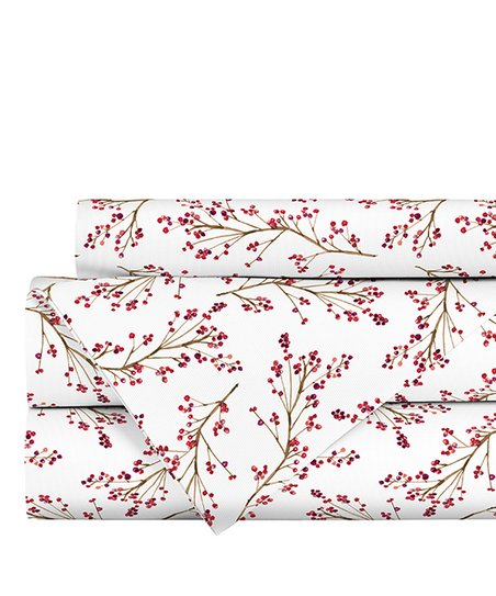 White & Red Berries Woodland Flannel Sheet Set by Textile City