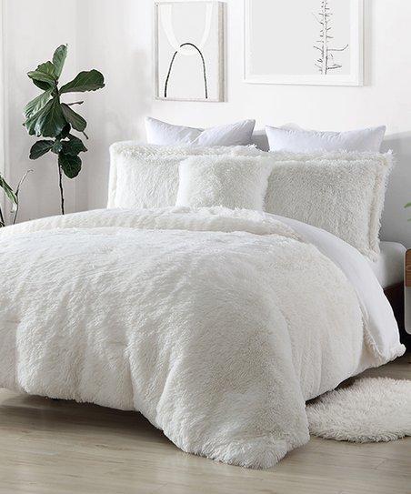 S L Home Fashions White Shaggy Faux Fur Four Piece Reversible