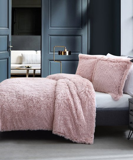 Blush Shaggy Comforter Set by S.L. Home Fashions
