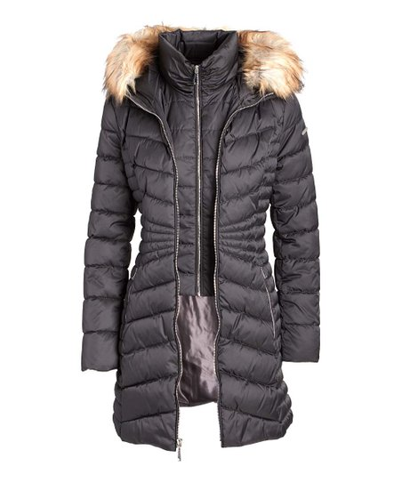 Laundry by Shelli Segal Womens Quilted Puffer Coat with Faux Fur Hood