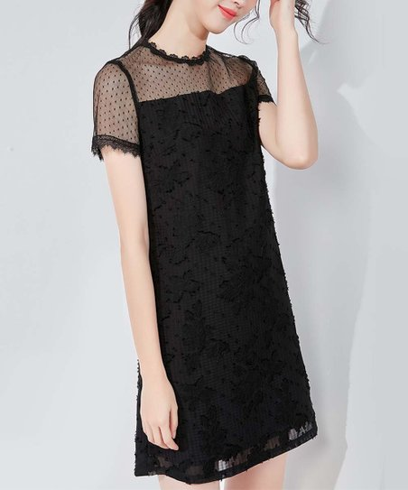 Emma Way Black Sheer Shoulder Shift Dress Women
