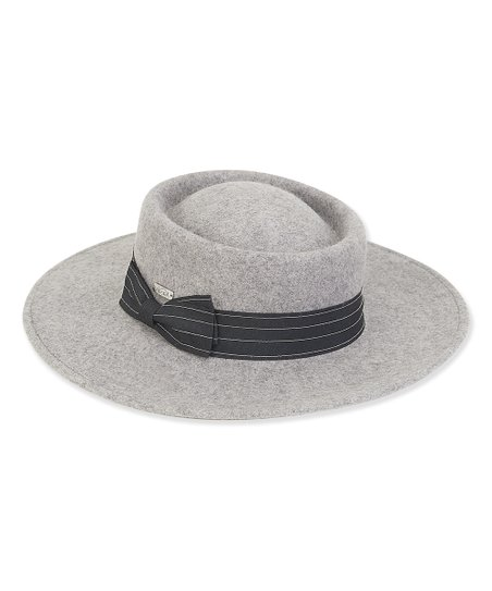 12cc007f5 ADORA Gray Pinstripe-Band Wide-Brim Wool Porkpie Hat