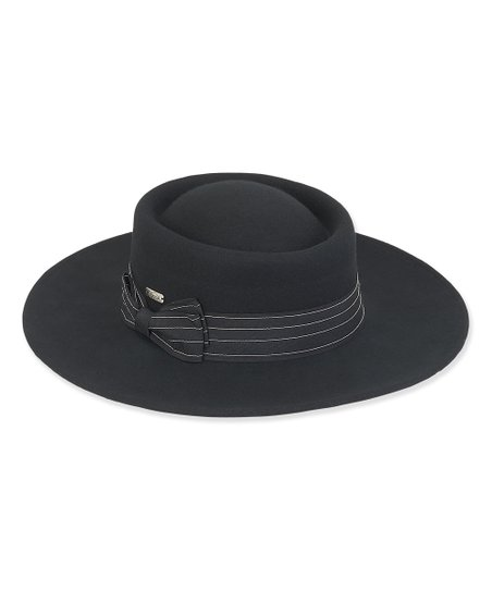 237ef42c0 ADORA Black Pinstripe-Band Wide-Brim Wool Porkpie Hat