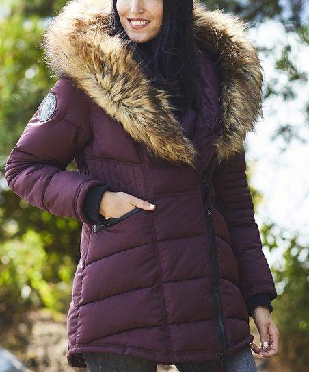 Canada Weather Gear Cranberry Oversize Faux Fur Hood Long Puffer Jacket Women & Plus