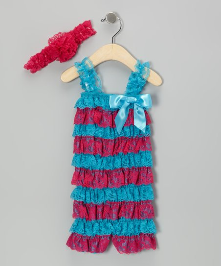 101ce2360687 love this product Hot Pink   Turquoise Romper   Flower Headband - Toddler