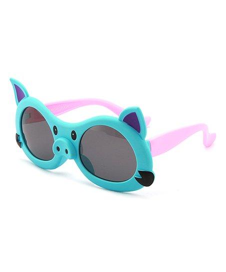47fd9d62b1aa Spuka Green & Pink Cartoon Piggy Polarized Sunglasses | Zulily