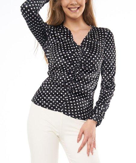 58ac7bf49418 Genarro Vagliere Black & White Polka Dot Ruched V-Neck Top - Women ...
