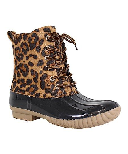 Black Leopard Dylan Duck Boot   Best