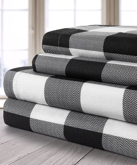 Safdie Co Inc Black White Buffalo Plaid Flannel Sheet Set Best Price And Reviews Zulily