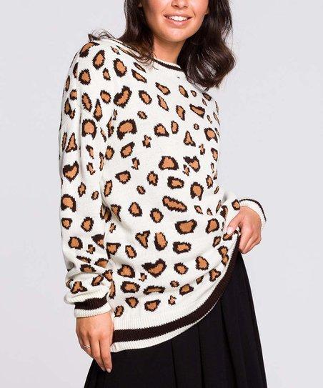 BeWear Off White & Black Leopard Print Sweater Women