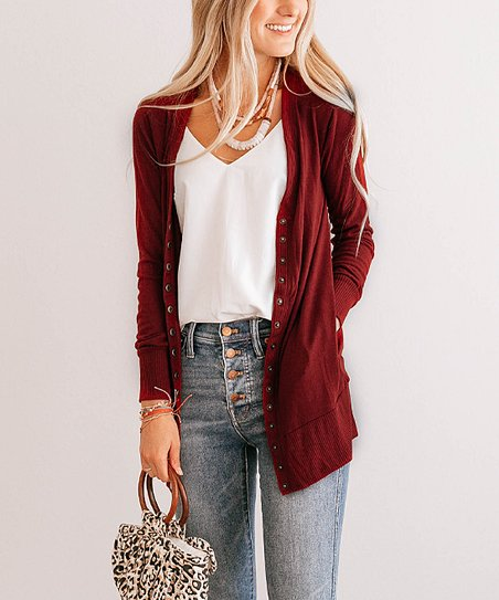 Fired Brick Long Snap Pocket Cardigan   Women & Plus by Zulily