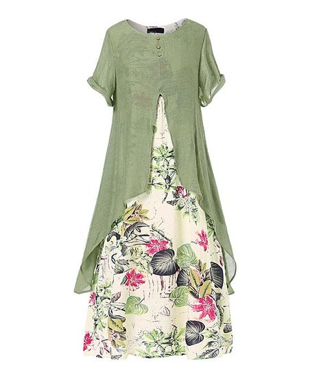 Green Floral Layered Midi Dress   Women & Plus by Cellabie