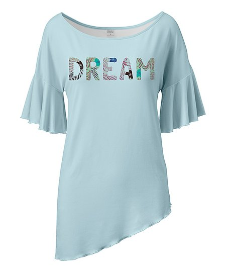 Nanu Light Blue 'Dream' Ruffle Asymmetrical-Hem Tunic - Women & Plus