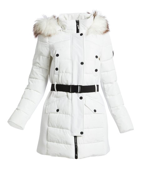 Michael Kors White Faux Fur Trim Belted Parka Women