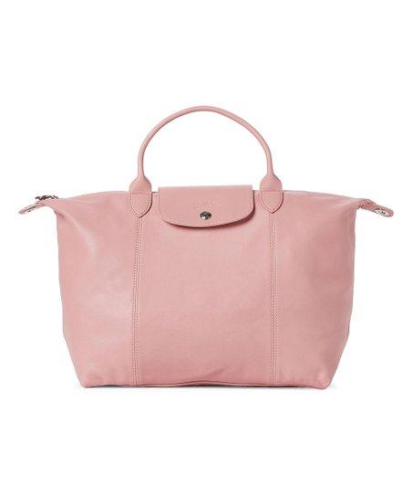 Longchamp Blush Le Pliage Cuir Medium Leather Satchel