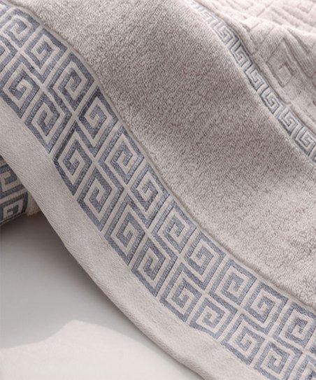Z H Gray Greek Key Cotton Bath Towel