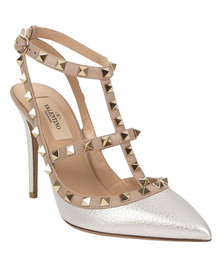 biggest discount new arrive shop best sellers Valentino Silver Metallic Rockstud Caged Leather Pump - Women   Zulily